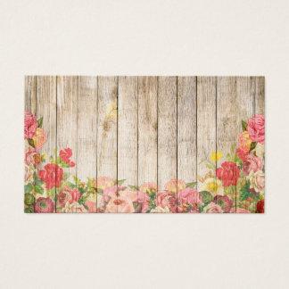 Cartão De Visitas Rosas românticos rústicos do vintage de madeira