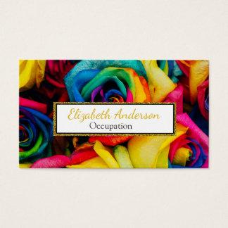 Cartão De Visitas Rosas vibrantes da cor do arco-íris profissionais