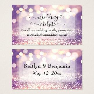 Cartão De Visitas Roteiro do Web site do casamento, Bokeh colorido &