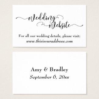 Cartão De Visitas Roteiro preto do Web site | do casamento no branco
