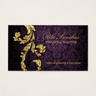 Cartão De Visitas Roxo elegante da folha de ouro do planejador