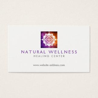 Cartão De Visitas Roxo floral do logotipo do bem-estar da grade