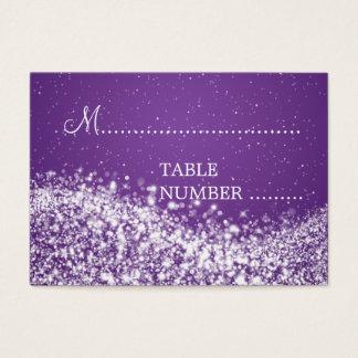 Cartão De Visitas Roxo Sparkling da onda de Placecards do casamento
