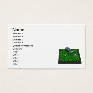 Cartão De Visitas Saco de clubes do golfe na grama