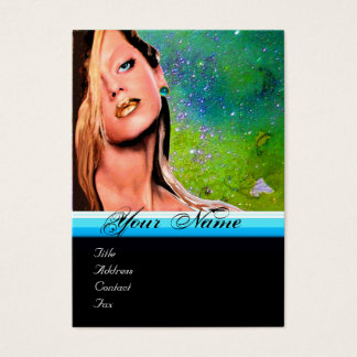 Cartão De Visitas Safira do azul do monograma do MAQUILHADOR da