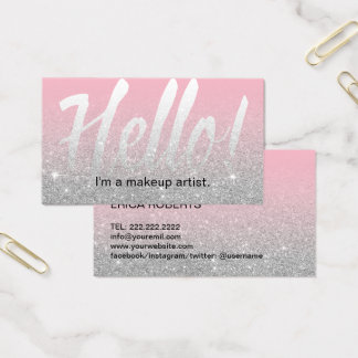 Cartão De Visitas Salão de beleza cor-de-rosa do maquilhador & de