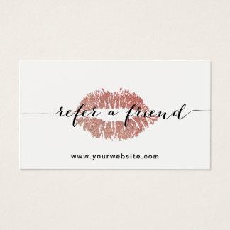 Cartão De Visitas Salão de beleza cor-de-rosa dos lábios do ouro do