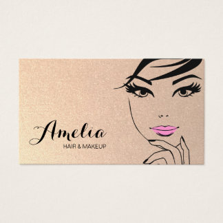 Cartão De Visitas Salão de beleza da cara da mulher & ouro dos