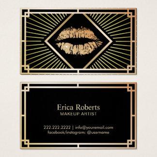 Cartão De Visitas Salão de beleza do art deco do ouro do vintage do