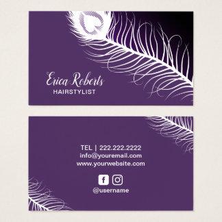 Cartão De Visitas Salão de beleza do roxo da pena do pavão do