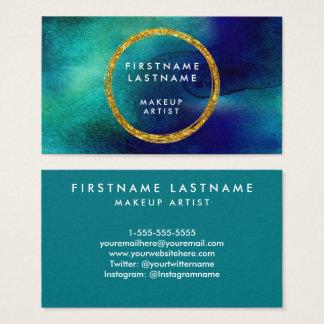 Cartão De Visitas Salão de beleza e maquilhador da aguarela do azul