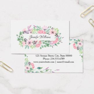 Cartão De Visitas Salão de beleza floral feminino do maquilhador do
