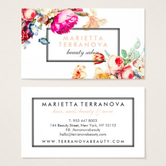 Cartão De Visitas Salão de beleza listrado floral chique do vintage
