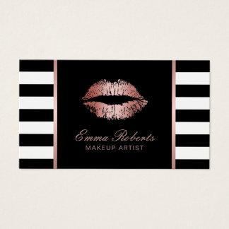 Cartão De Visitas Salão de beleza moderno do maquilhador das listras