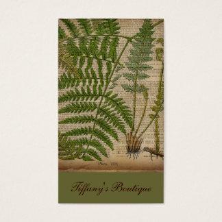 Cartão De Visitas samambaia botânica francesa do impressão da folha