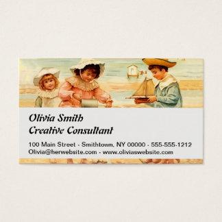 Cartão De Visitas Sandcastles do litoral da praia das crianças do