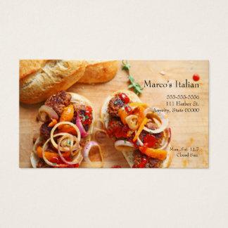 Cartão De Visitas Sanduíches do Meatball com cebolas e pimentas