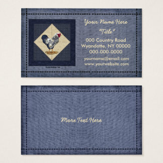 Cartão De Visitas Sarja de Nimes atada prata do galo de Wyandotte