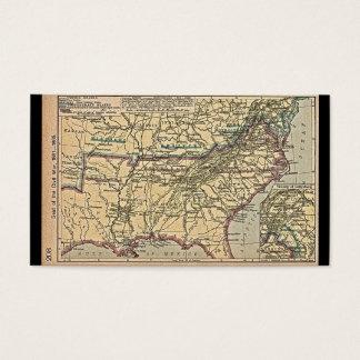 Cartão De Visitas Seat da guerra civil, mapa 1861 - 1865