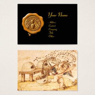 Cartão De Visitas SELO/Cupido da CERA do AMARELO da ABELHA do MEL o