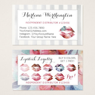 Cartão De Visitas Selo da lealdade do beijo da aguarela do