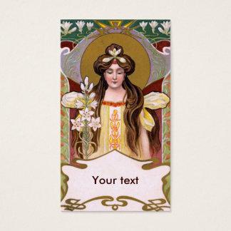 Cartão De Visitas Senhora de Nouveau da arte com lírios