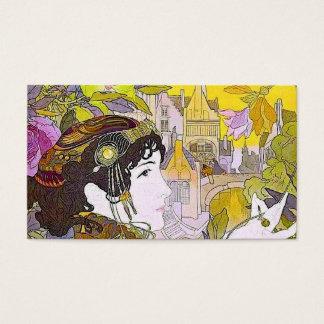 Cartão De Visitas Senhora de Nouveau da arte em um jardim