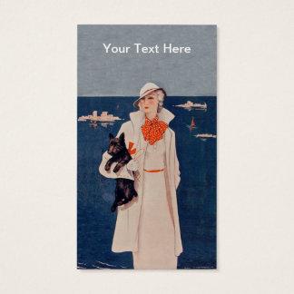 Cartão De Visitas Senhora elegante no branco pelo cão de Scotty do