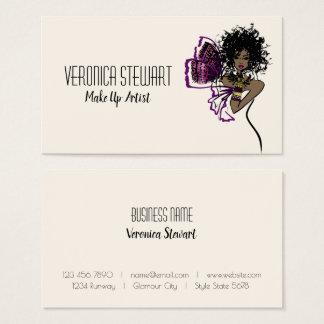 Cartão De Visitas Senhora preta Borboleta da beleza