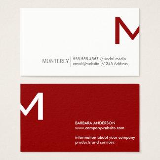 Cartão De Visitas Separação incorporada do monograma de | (vermelho