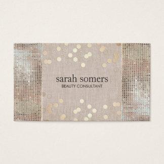 Cartão De Visitas Sequins da prata dos confetes do ouro da beleza &