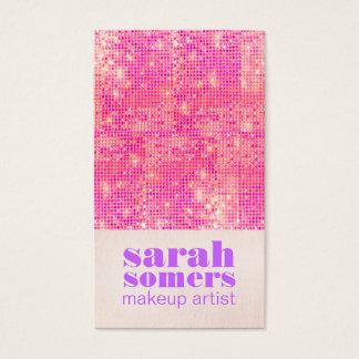 Cartão De Visitas Sequins femininos do rosa quente do maquilhador