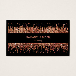 Cartão De Visitas Sequins metálicos de cobre em moderno preto