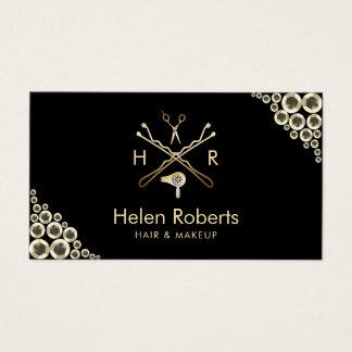 Cartão De Visitas Sequins modernos do ouro do logotipo do salão de