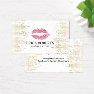 Cartão De Visitas Sequins modernos do ouro do maquilhador dos lábios