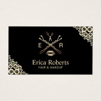 Cartão De Visitas Sequins modernos do ouro do salão de beleza do