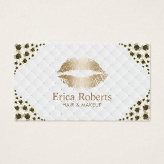 Cartão De Visitas Sequins modernos do ouro dos lábios dourados do