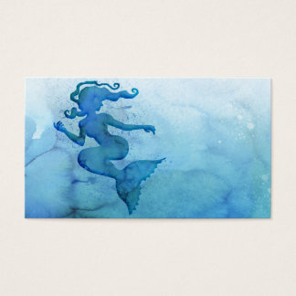 Cartão De Visitas Sereia azul da aguarela