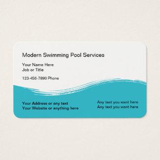 Cartão De Visitas Serviço moderno da piscina