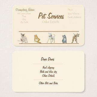 Cartão De Visitas serviços da preparação e dos cuidados dos animais