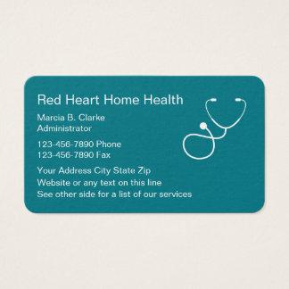 Cartão De Visitas Serviços dos cuidados das saúdes ao domicílio