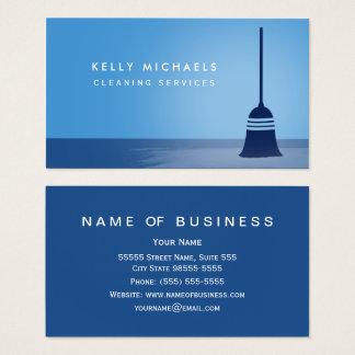 Cartão De Visitas Serviços elegantes da limpeza da vassoura azul