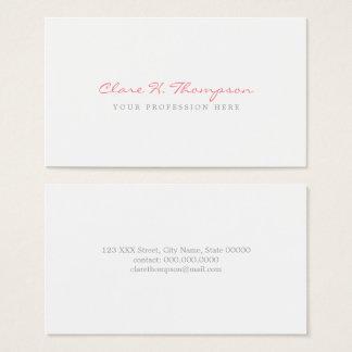 Cartão De Visitas seu roteiro cor-de-rosa profissional minimalista
