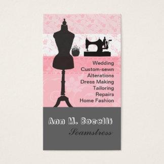 Cartão De Visitas Sewing floral cor-de-rosa feminino dos artesanatos