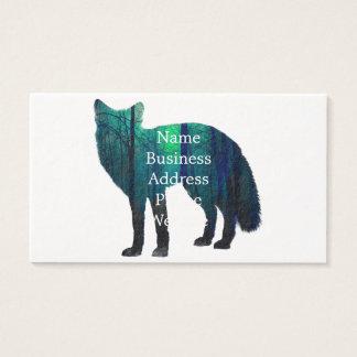 Cartão De Visitas Silhueta do Fox - raposa da floresta - arte da