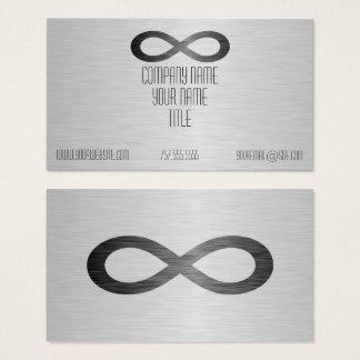 Cartão De Visitas Símbolo da infinidade na textura do metal do falso