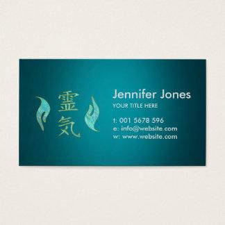 Cartão De Visitas Símbolos de Reiki e mármore cura do ouro das mãos