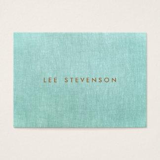 Cartão De Visitas Simples, azul de turquesa, olhar de linho,