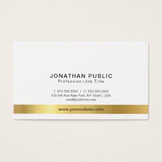Cartão De Visitas Simples branco do ouro elegante moderno