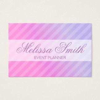 Cartão De Visitas Simples chique listrado do Lilac cor-de-rosa